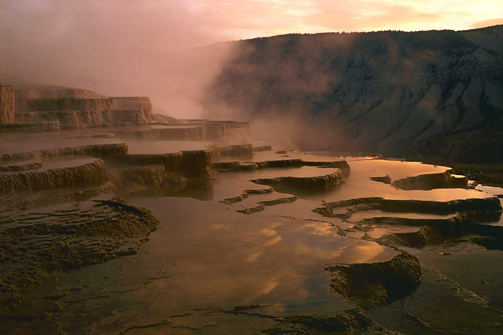 Rising mists at Mammoth Hot Springs, Yellowstone National Park, Wyoming # 4061