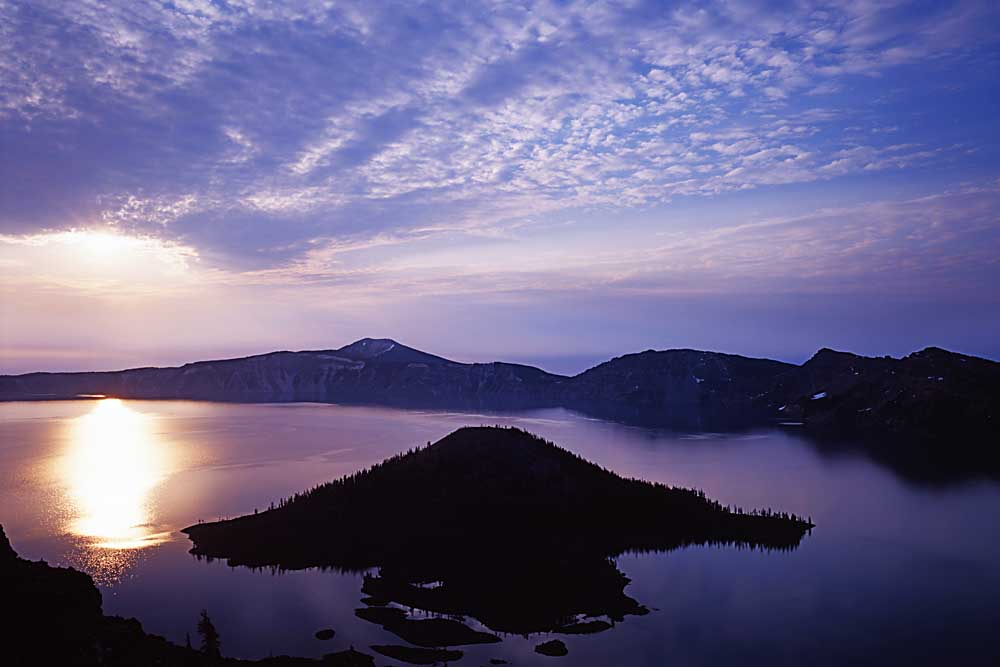 Wizard Island at sunrise, Crater Lake National Park, Oregon # 5679