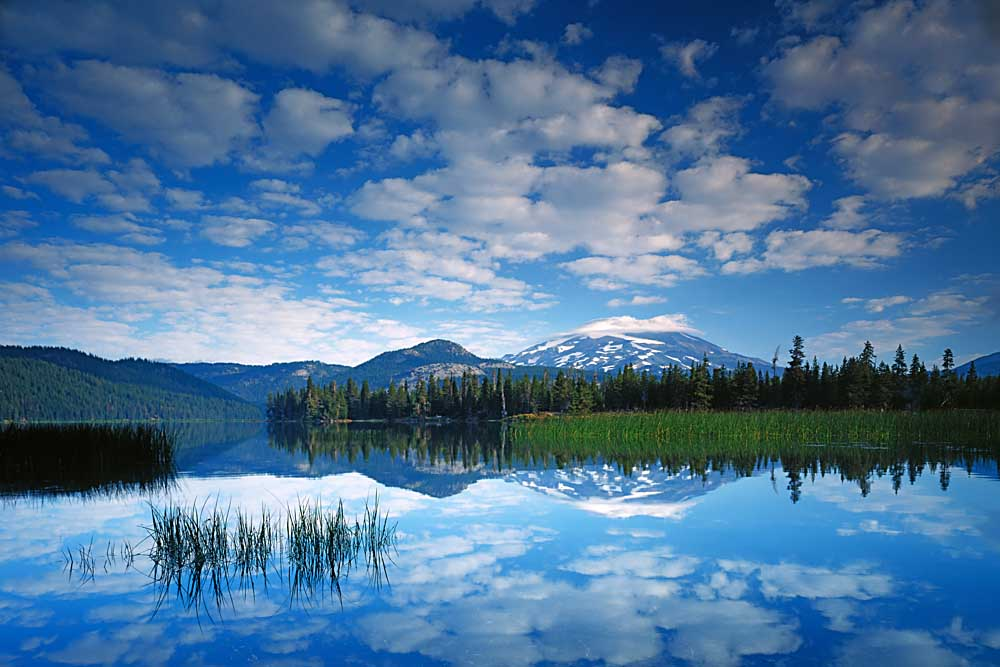South Sister reflects in Sparks Lake, Deschutes National Forest, Oregon # 5686