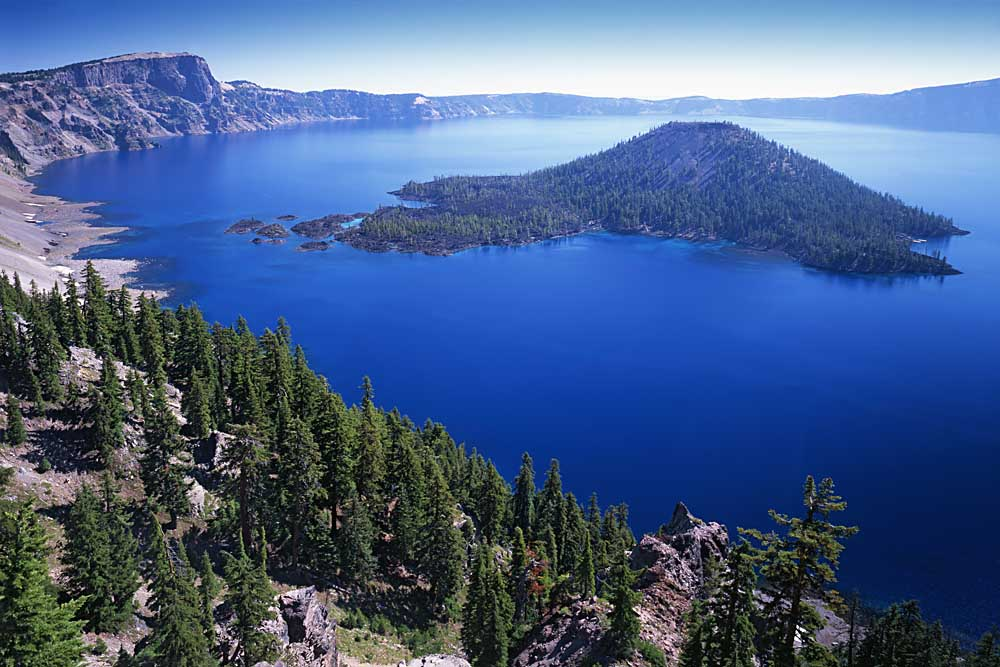 Wizard Island in Crater Lake, Crater Lake National Park, Oregon # 5697