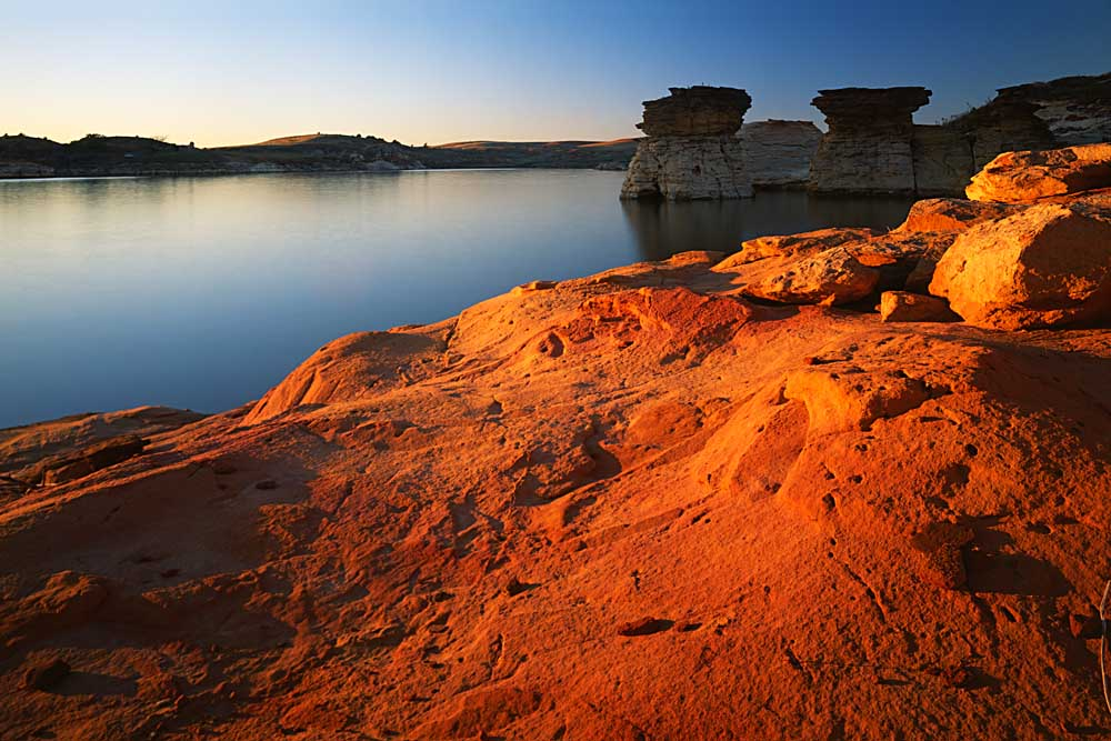 Sandstone at sunset, Rocktown Natural Area, Wilson Lake, Kansas # 6423