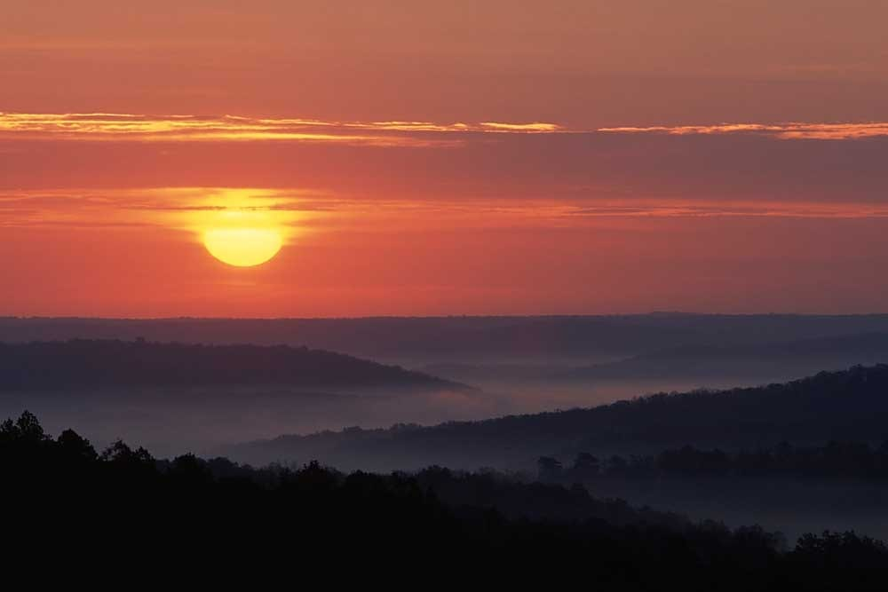 Sunrise over the Current River Valley, Ozark National Scenic Riverways, Missouri # 7458h