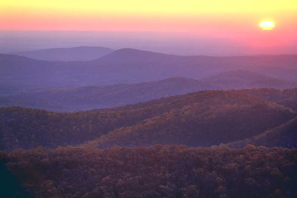 Sunrise from Buck Hollow Overlook, Shenandoah National Park, Virginia # 9322h