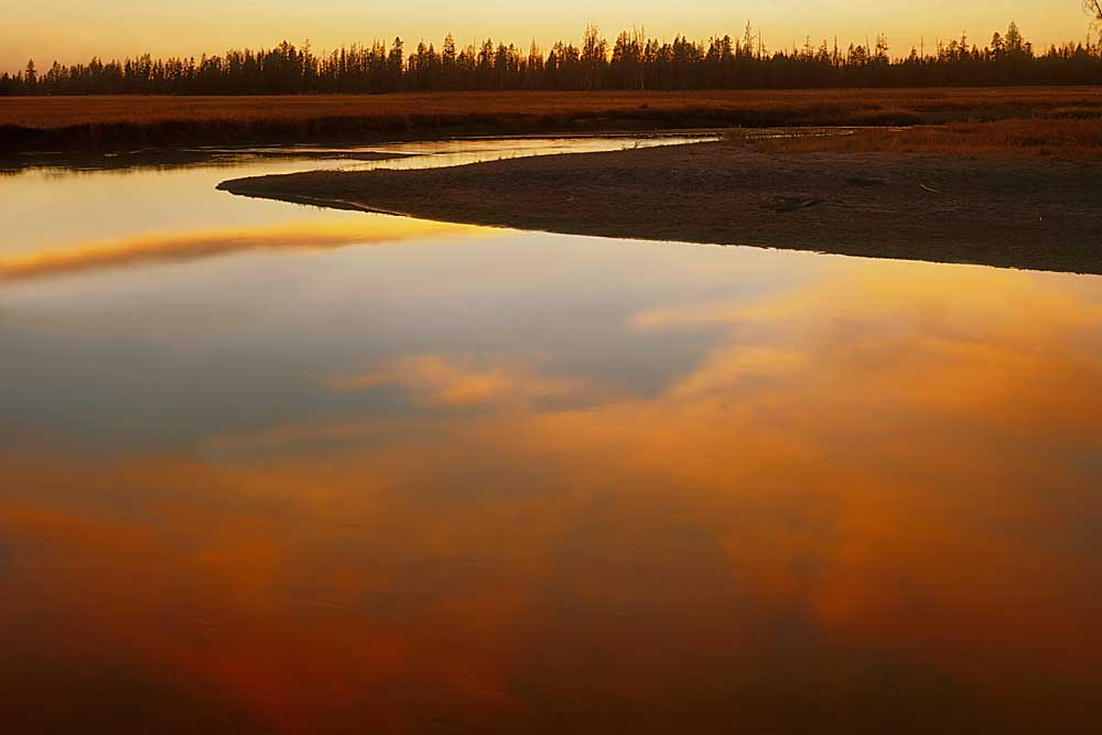 Bechler River at sunset, Yellowstone National Park, Wyoming # 40541