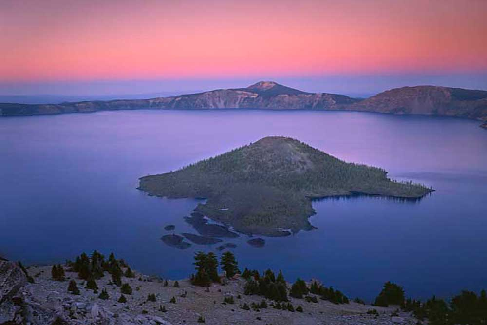 Crater Lake, Wizard Island at dusk, Crater Lake National Park, Oregon # 5684