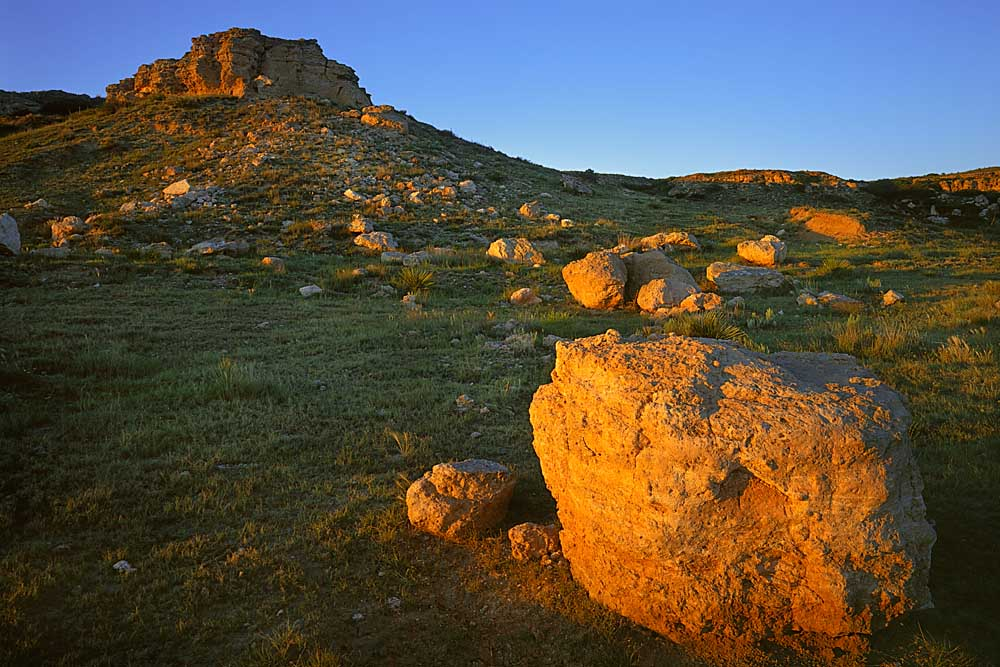 Boulders at sunset at the Point of Rocks, Cimarron National Grassland, Kansas # 6411