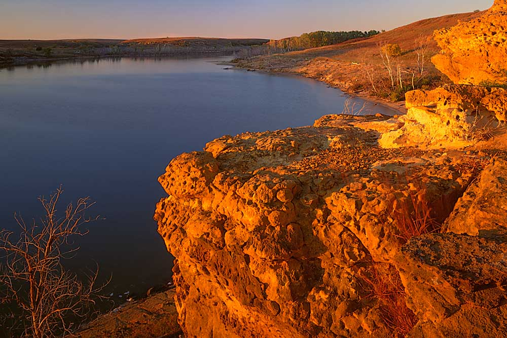 Kanopolis State Park, Sandstone bluff at sunset along Kanopolis Lake, Kansas # 6422