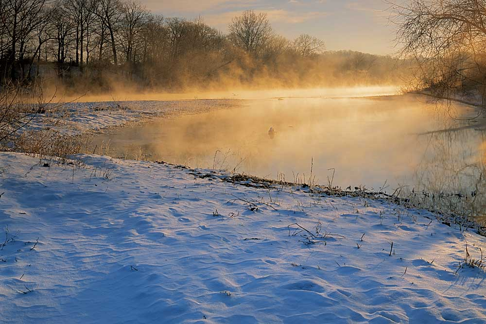 Winter sunrise on the Jacks Fork River, Ozark National Scenic Riverways, Missouri # 7845