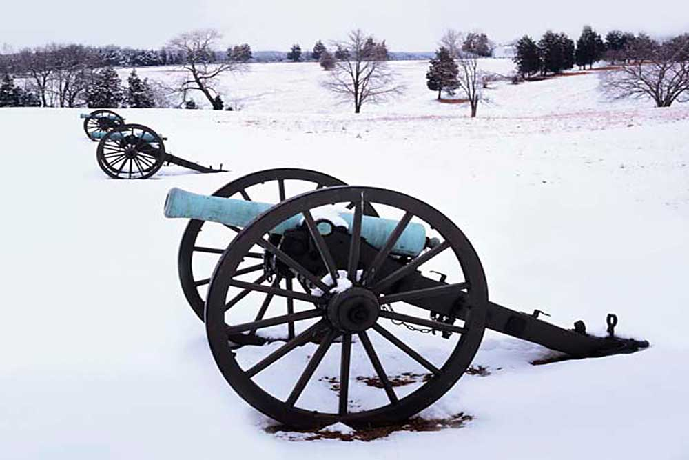Cannons in snow, Manassas National Battlefield Park, Virginia # 9031