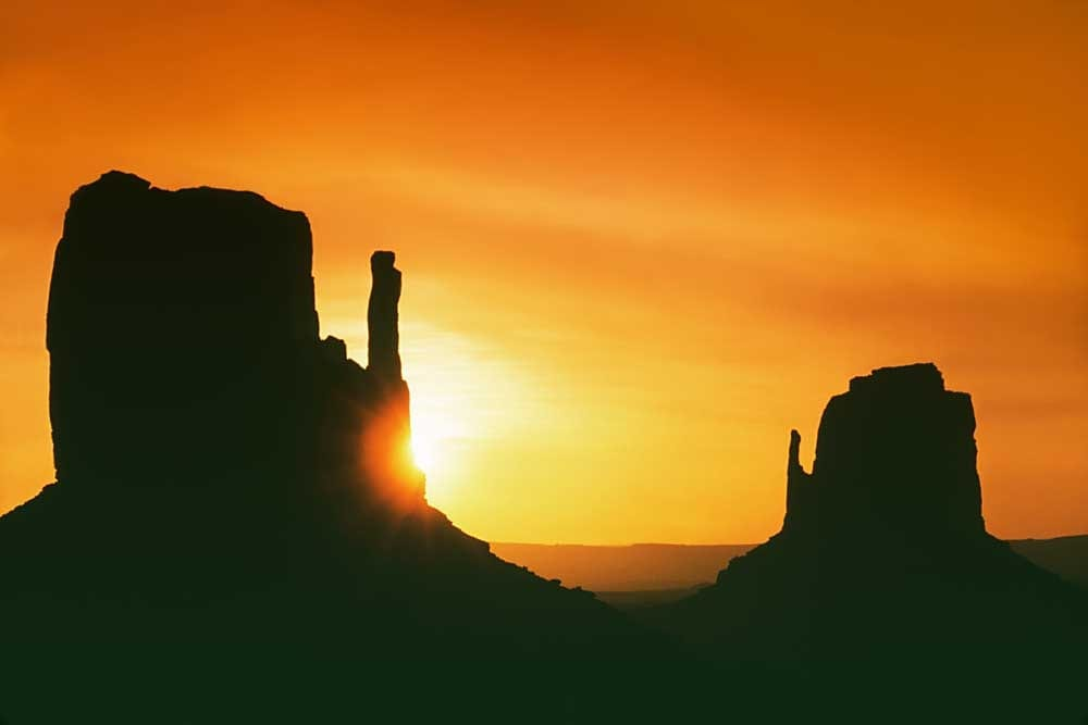 The Mittens at sunrise, Monument Valley, Arizona # A793